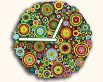 Color Circles Design Wall Clock Gift