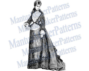 Victorian Dress Engraving w/ Sloped Bustle, Instant Digital Download, JPG & PNG, 1875 #2