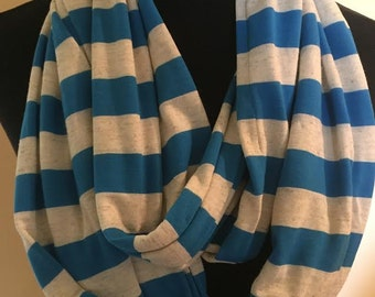 New Stretch Knit Cream and Blue Striped Long Infinity Scarf