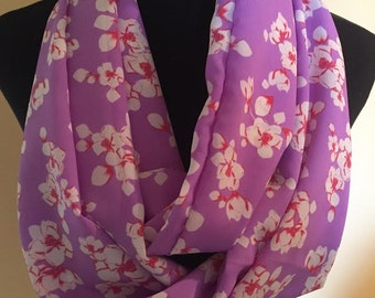 New Long Purple Pink and Off White Floral Infinity Scarf