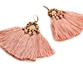 Tassel Earrings, Old Rose Fringe Earrings, Hippie Earrings, Bohemian Chandeliers, Pink Earrings, Folk Earrings