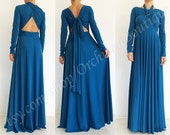 FANTASY convertible maxi dress infinity wrap sleeves chameleon multi way evening bridesmaids formal backless midnight blue