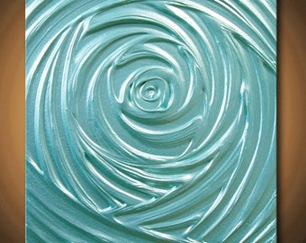 Painting Turquoise Abstract Aqua Blue Healing Vortex of Creation Pearlescent Sculpture Acrylic 12x12 High Quality Original Modern Fine Art
