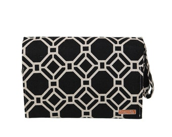 FREE SHIPPING - Diaper Changing Clutch Wristlet in Black Lattice SALE