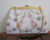 RESERVED FOR CARYN / Beaded Bag / 1960s / Wedding Purse / Astronaut Wives Club / Bridal Bag / Mad Men / Floral