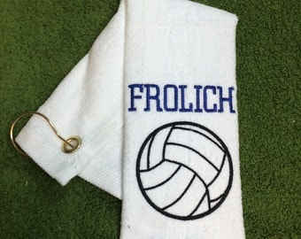 Personalized sport, volleyball, basketball, archery, golf, great seller, team towels, volleyball gift 12 x 16with grommet and hook.