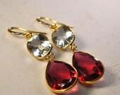 SALE Garnet Earrings - January Birthstone Earrings - Green Amethyst February Birthstone Earrings