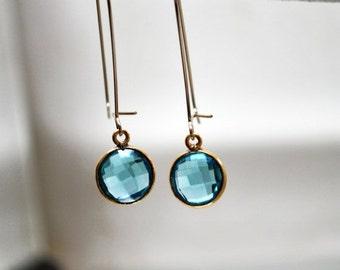 SALE Topaz Blue Quartz Gemstone Drop Earrings
