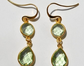SALE Green Amethyst Earrings - February Birthstone Earrings