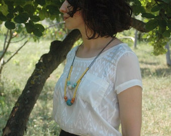 Long beaded necklace,blue yellow  necklace,wooden necklace,colorful necklace