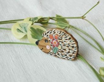 Hedgehog Brooch Pin  Animal Brooch Wooden Brooch