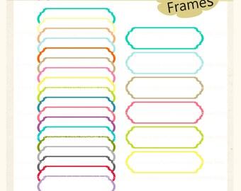 ON SALE bright colour digital scrapbooking frames,label clip art, long frame clip art, A-191