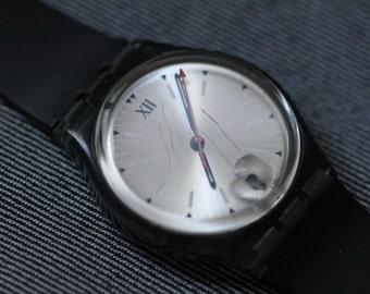 Vintage Swatch Watch Mid Size New Black Strap