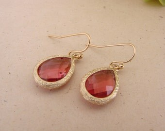 Garnet Bridesmaid Tear Drop Earrings Gold Tone  Maid of Honor Mother of the Bride