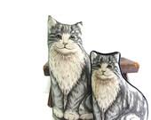 Vintage Kitty Cat Decorative Pillows - Grey Tabby Cat Pillow - Set of Two - Handmade - Mother Cat - Kitten