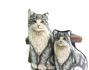 Vintage Kitty Cat Decorative Pillows - Grey Tabby Cat Pillow - Set of Two - Handmade - Mother Cat - Kitten