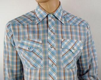 Vintage 1970's Men's Montgomery Ward Western HiPPiE HiPsTeR ReTrO PLAID Shirt Size L 46