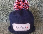 Baby PATRIOTS hat, baby sport hat, football, football hat, New England Patriots,  Preemie/4T
