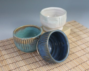 Condiment Bowl - Set of three - Japanese Style Yunomi teacup - ready to ship -