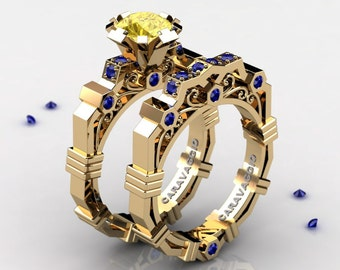 Caravaggio Modern 14K Yellow Gold 1.0 Ct Yellow and Blue Sapphire Engagement Ring Wedding Band Set R624S-14KYGBSYS