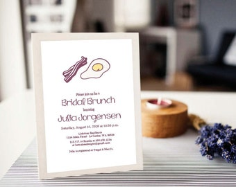 Instant Download - Eggs and Bacon - Brunch/Shower Invitation, Custom Printable