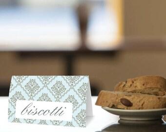 Instant Download - Little Prince - Light Blue with Silver Damask - 4 Printable Food Labels