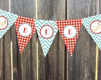 Instant Download - Barnyard - Red Gingham and Aqua Chevron - 2 Printable Pennant, Bunting Banner  - Baby Shower, Birthday