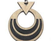 AKHU | long pendant necklace, laser cut wood and brass necklace