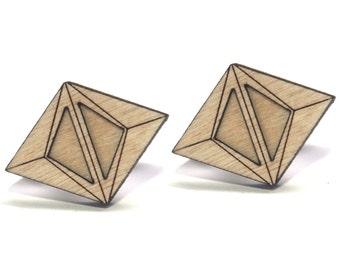 BA | diamond wood studs, laser cut wood post earrings