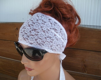 Womens Headband Lace Fabric Headband Fashion Accessories Women Headscarf Headwrap in White Lace Headband  - Choose color