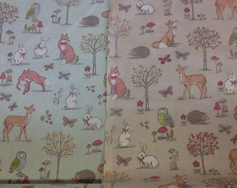 Woodland animals cotton craft fabric sold by the half metre