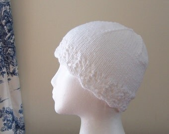 Chemo Hat Cotton Sleep Cap for Women, Knit in White soft yarn with lace edge accent, ready to ship, Cancer Patient Gift