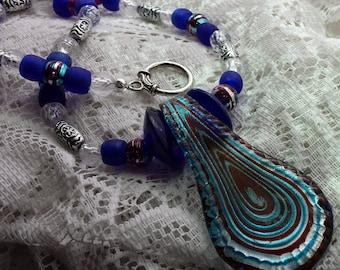 Swirly Glass Teardrop Pendant Necklace