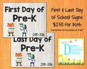 """2016-2017 First & Last Day of School Announcement Signs Printable 8""""x10"""" - Pre-K"""