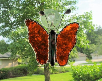 "Stained Glass Orange Cathedral Butterfly 4"" x 4.5"" with Handcrafted Twisted Wire Antenna and Twisted Wire Hanger"