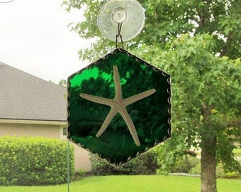 Stained Glass  Authentic Starfish Hexagon Shaped Panel in Emerald Green Cathedral Glass with Twisted Wire Handcrafted Hanger