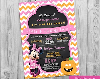 Minnie Halloween Invitation: Printable Chalkboard Minnie Mouse Style Party Invite, 1st, 2nd, 3rd Birthday, Other Invitations Available