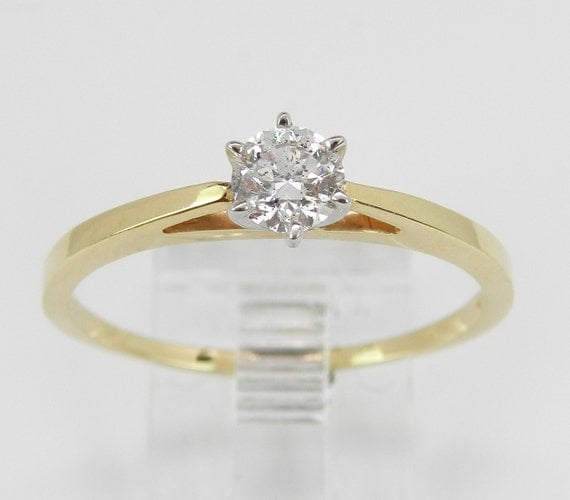 Solitaire Diamond Engagement Ring 14K Yellow White Gold Round Brilliant Size 10