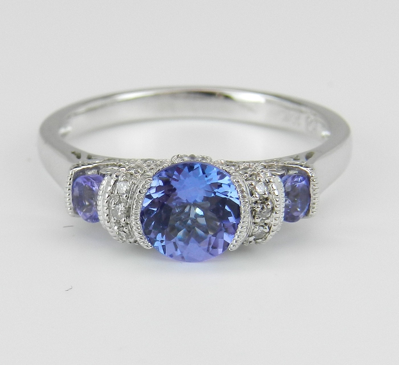 tanzanite and diamond three stone engagement promise ring. Black Bedroom Furniture Sets. Home Design Ideas