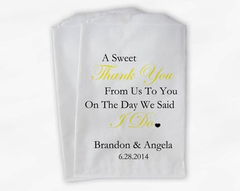 Sweet Thank You Wedding Candy Buffet Treat Bags - Yellow and Black Personalized Favor Bags with Couple's Names and Wedding Date (0054-5)