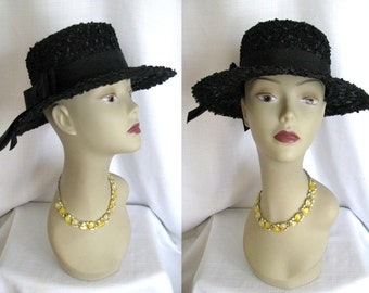 Vintage 1960s Hat - Dayton's Black Wide Brim Hat w/ Ribbon