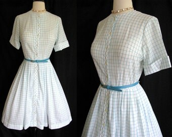 Vintage 1950s Dress Georgia Griffin Shirt Waist Day Dress - Blue & White Cotton w/ Full Skirt Small