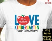 Teacher Kindergarten Shirt - Back to School Shirt - Personalized Teacher Shirt - teacher appreciation gift - teacher team shirts