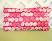 Ribbon Rosettes Pillow in Hot Pink Pale Pink White / Ribbon Pillow / Hot Pink Pillow / Teen Girl Pillow / Bedroom Pillow / Accent Pillow