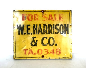 Vintage / Antique advertisement sign / painted on tin