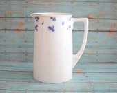 Vintage Pitcher Ceramic Cottage Chic Floral Pitcher with Blue Flowers