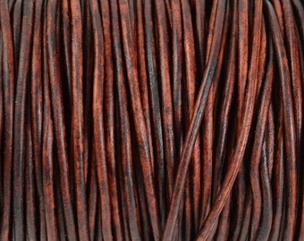 3mm Natural Antique Brown Round Leather Cord - Distressed Matte Finish - 15 Feet