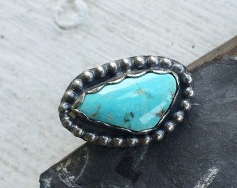 Natural Kingman Turquoise Ring - Southwestern Silver BOHO Ring Size 5 - December Birthstone Sagittarius Jewelry Gift for Her