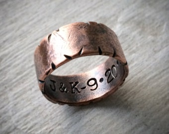 Distressed Copper Ring - Wide Custom Stamped Personalized Wedding or 7th Anniversary Band - Rustic Boho Jewelry