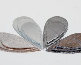 12pcs  Silver  Leather Teardrop Shape ,Metallic Silver